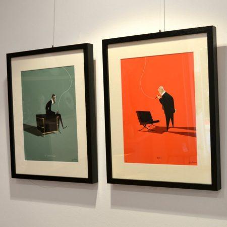 Ilustraciones Jorge Areválo, retratos de personajes del cine, la arquitectura, la moda.