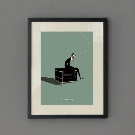 Ilustración arquitecto Le Corbusier